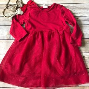Baby Girl H&M Red Sparkly Tulle Dress Sz 6-9 Month